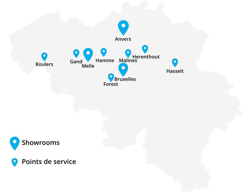 Toonzalen en servicepunten België
